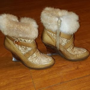 Baby Phat Faux Fur Lined Ankle Boots Sz 7